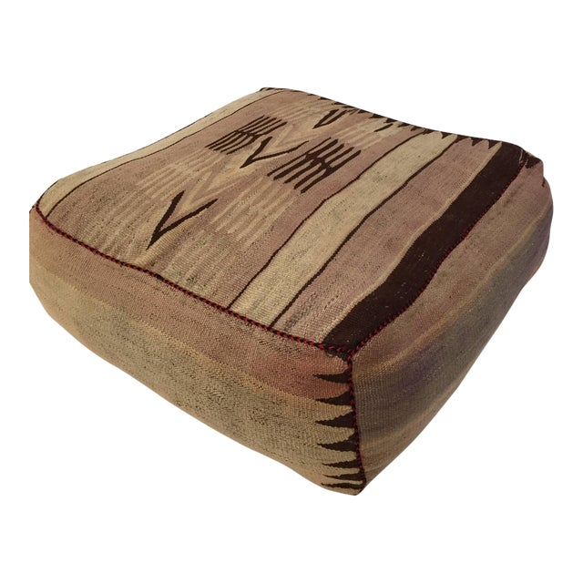 Moroccan Tribal Floor Pillow Seat Cushion Made From a Vintage Berber Rug For Sale