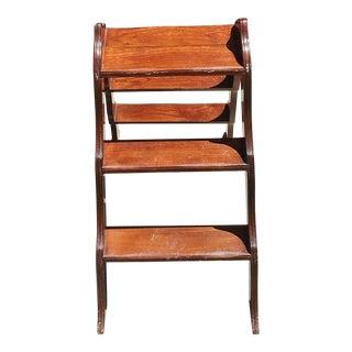 Vintage Hardwood Library Ladder For Sale