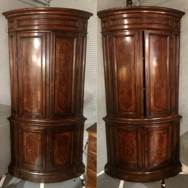 "Wood Louis Philippe Pairs of ""encoinures"" Corner Cabinets a Pair For Sale - Image 7 of 7"