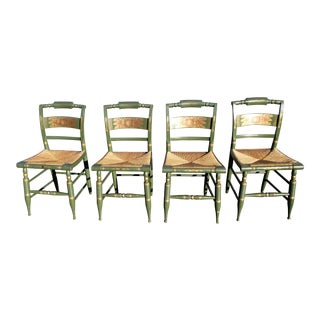 1960s Hitchcock Green Dining Chairs - Set of 4 For Sale