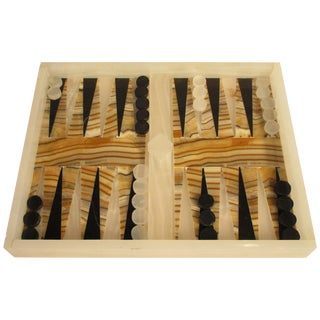 1960s Vintage Onyx and Marble Backgammon Set For Sale