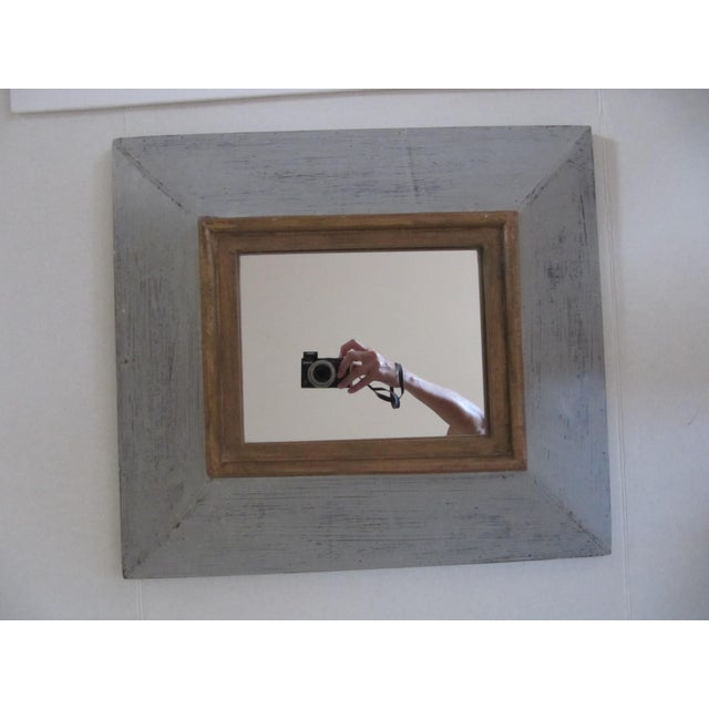 Traditional Distressed Grey & Gold Wall Mirror For Sale - Image 3 of 7