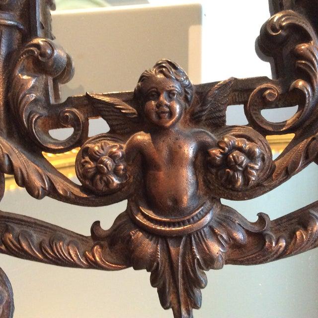 Antique Cast Iron Cherub Mirror - Image 5 of 11