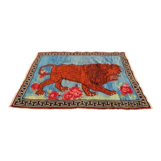 Vintage Gabbeh Lion Kilim Rug - 5'1'' X 7'3'' For Sale
