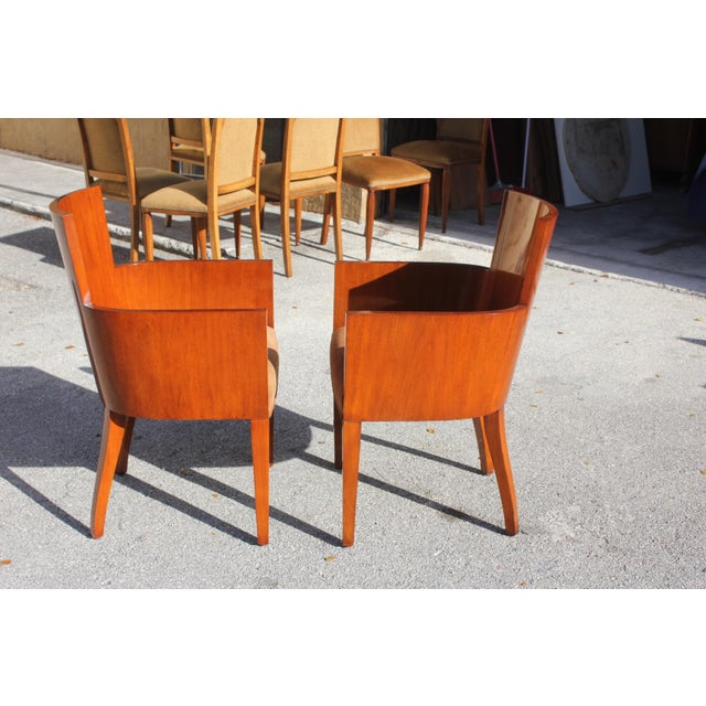 Pair of Solid Mahogany Ralph Lauren Modern Hollywood Armchairs . For Sale - Image 11 of 13