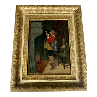 Early 20th Century Antique Gold Leaf Framed Painting For Sale
