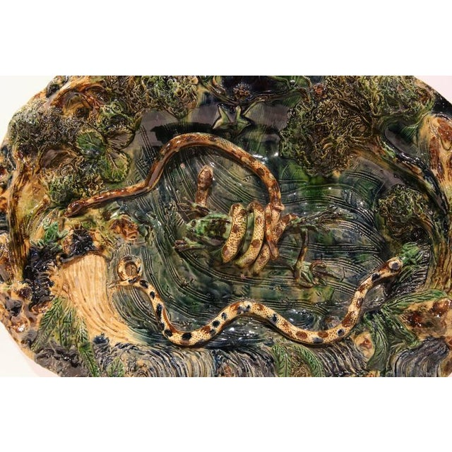 19th Century French Barbotine Hand Painted Majolica Palissy Platters - A Pair - Image 7 of 11