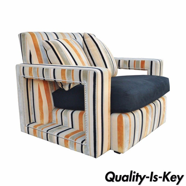 Large Hollywood Regency Modern Striped Upholstered Lounge Club Movie Arm Chair For Sale - Image 11 of 11