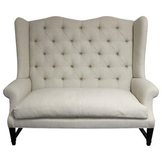 Tufted Wing Back Sofa For Sale