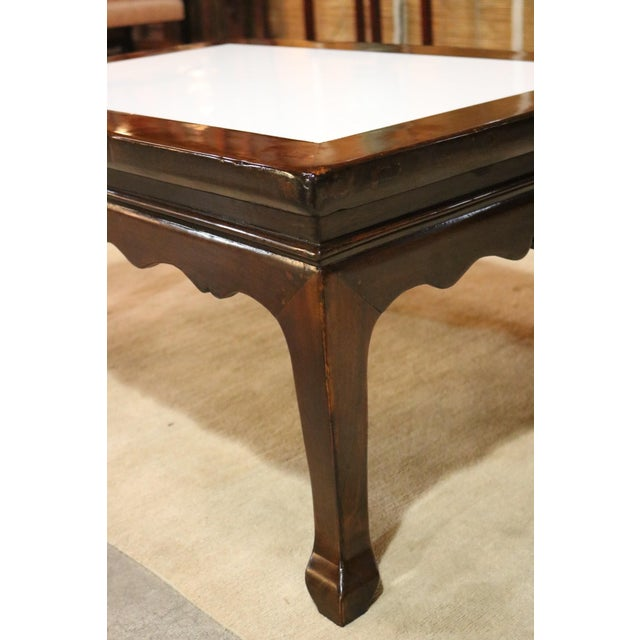 Walnut Wood Marble Top Low Table For Sale - Image 4 of 6