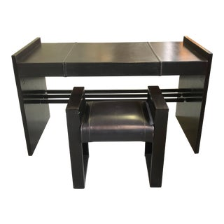 French Mid-Century Modern Stitched Black Leather Desk and Chair by Jacques Adnet For Sale