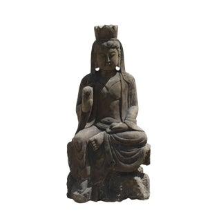Asian Oriental Stone Carved Sitting Kwan Yin Bodhisattva Statue
