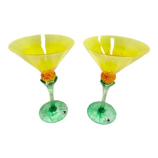 "Signed Opus ""Tropique"" Yellow Martini Glasses - Set of 2 For Sale"
