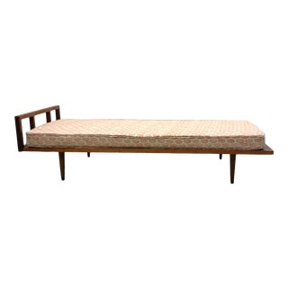 Mid-Century Wooden Daybed With Upholstered Cushion For Sale