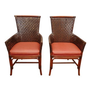 1980s Vintage Bamboo Orange Leather Palecek Accent Chairs- A Pair For Sale