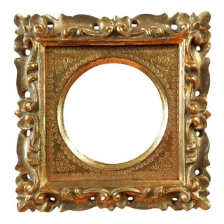 Small Carved Italian Giltwood Frame For Sale