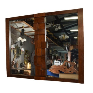 Mid-Century Modernist Brutalist Walnut Mirror by Lane For Sale
