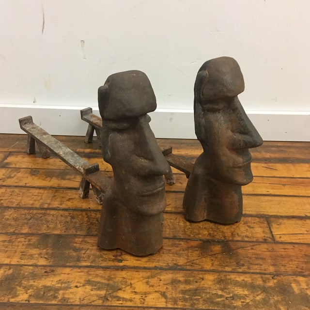 Brown Vintage Easter Island Motif Cast Iron Andirons - a Pair For Sale - Image 8 of 8