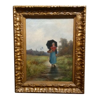 A. Taylor - Country Girl in a Rainy Landscape- Oil Painting -C.1890s For Sale