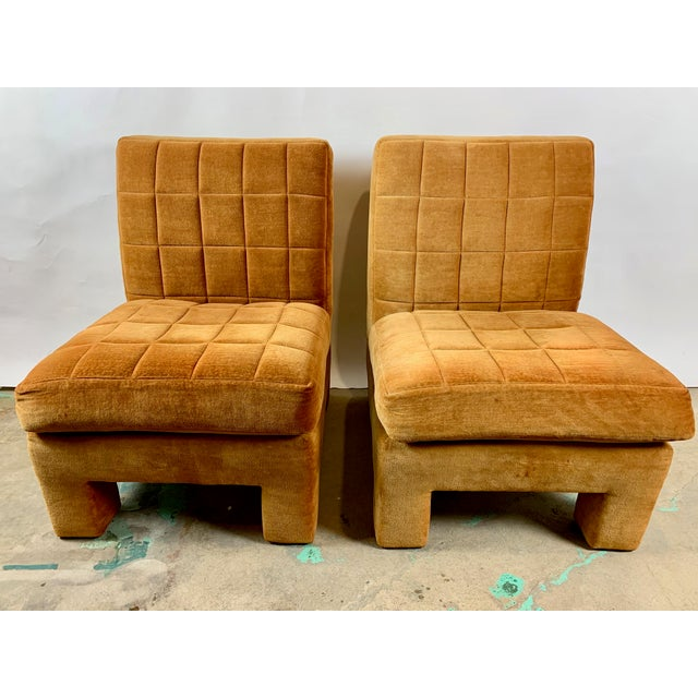 Burnt Orange Milo Baughman for Thayer Coggin Slipper Chairs - a Pair For Sale - Image 8 of 8