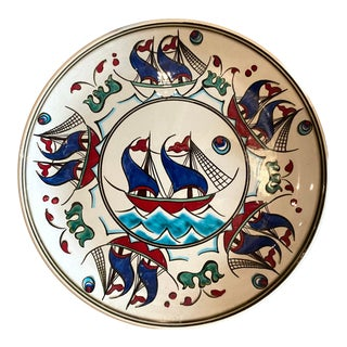 "Contemporary ""Gemi"" Hand-Painted 11.5"" Dinner Plates From Tamam For Sale"
