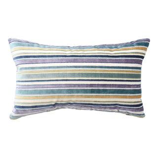 FirmaMenta Italian Blue Striped Velvet Lumbar Pillow For Sale