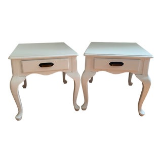 Vintage Hand Painted White Side Tables - a Pair For Sale