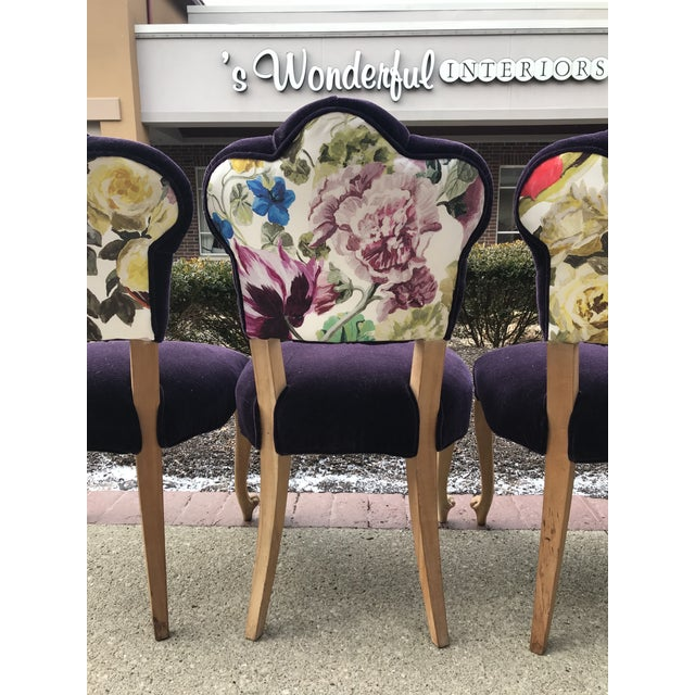 19th Century Antique Tufted Rococo Dining Side Chairs- Set of 6 Mohair With Designers Guild Floral Print For Sale - Image 6 of 13