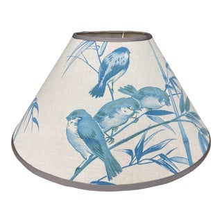 Antique Blue Aviary Print Fabric Lampshade For Sale