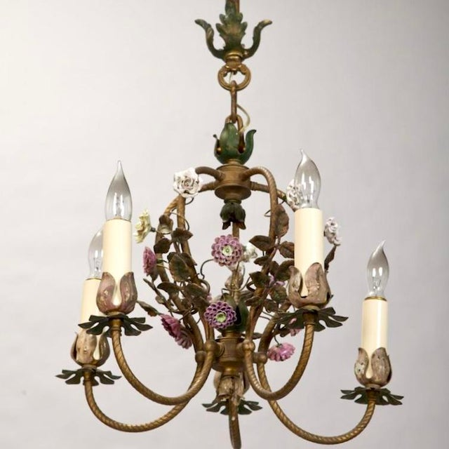 French Five-Light Brass Chandelier With Porcelain Flowers - Image 5 of 6