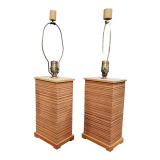 Paul Frankl Combed Fir Table Lamps - a Pair For Sale