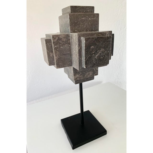 Mid-Century Modern Modern Sculpture Gray Marble Cube on Stand For Sale - Image 3 of 10