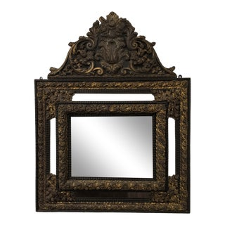 Antique Belgian Metal Mirror With Gold For Sale