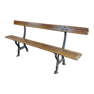 19th Century Cast Iron & Wood Outdoor Farm Seating Bench For Sale