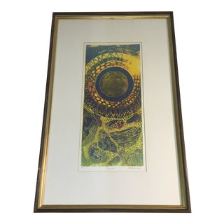 "1970s ""Aureolo"" Etching by Lucile H. Sanders, Framed For Sale"