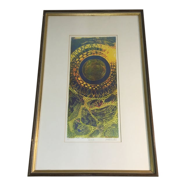 """1970s """"Aureolo"""" Etching by Lucile H. Sanders, Framed For Sale"""
