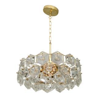 Goldplate Geometric Crystal Chandelier by Kinkeldey For Sale