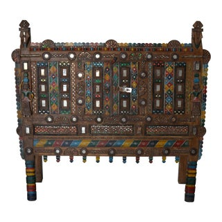 Antique Indian Carved Wooden Cabinet For Sale