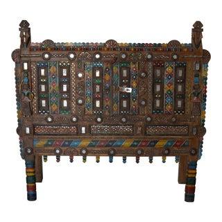 Antique Indian Carved Wooden Cabinet For Sale