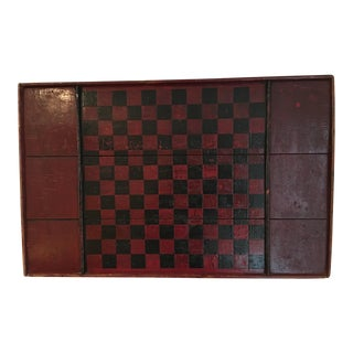 Antique Wooden Red & Black Checkerboard For Sale