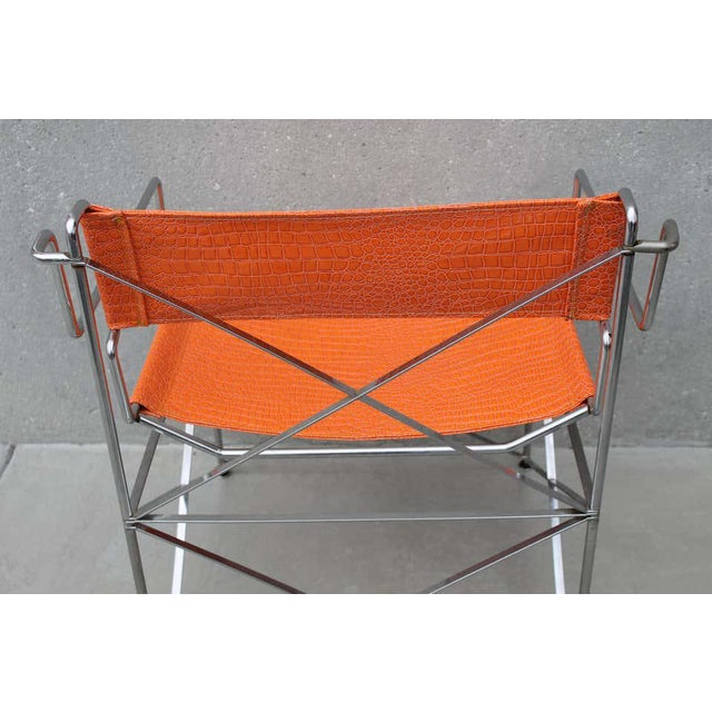 Faux Alligator Orange Chairs- A Pair For Sale In Palm Springs - Image 6 of 8
