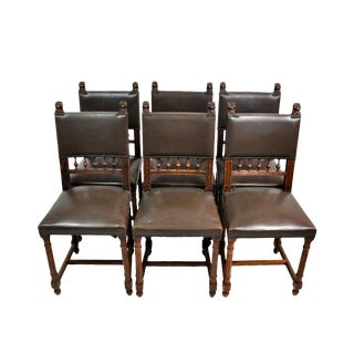 17th Century French Henry IV Lionheads Leather Walnut Dining Chairs - Set of 6