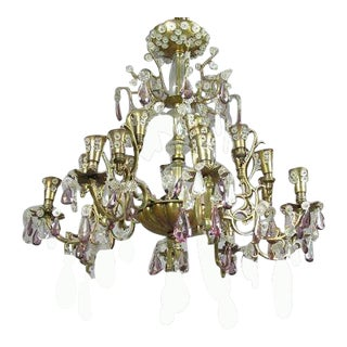 French Mid-Century 24-Arm Cut Crystal Chandelier by Baguès for Maison Jansen