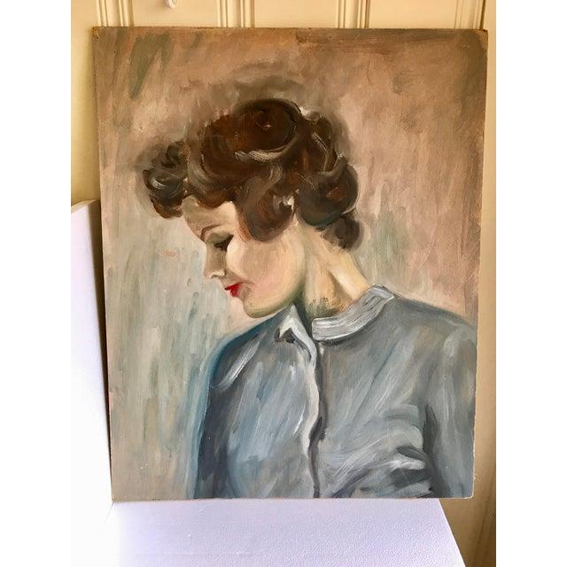 Canvas Vintage Female Portrait Painting For Sale - Image 7 of 7
