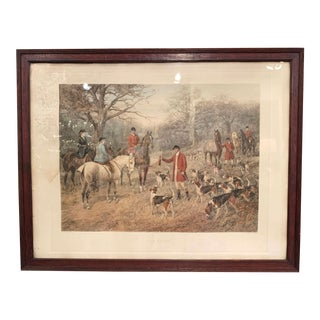 "19th Century English Framed Hand Painted Watercolor Hunt Scene ""The Brush"" For Sale"