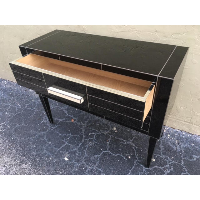 Modern New Chest of Drawers in Black Mirror and Aluminium With White Glass Handle For Sale - Image 3 of 11
