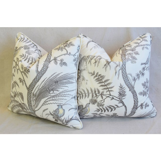 """Brunschwig & Fils Bird and Thistle Feather/Down Pillows 21"""" Square - Pair For Sale - Image 10 of 13"""