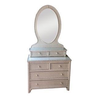 Vintage Henry Link Dresser and Mirror Vanity With Drawers For Sale