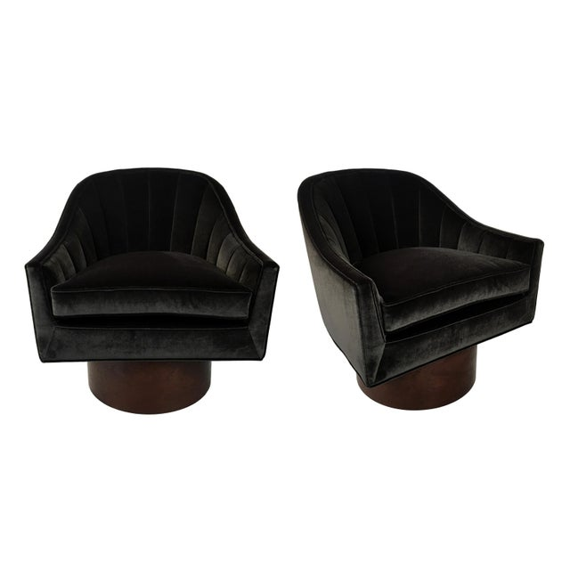 Pair of Velvet Swivel Chairs by Harvey Probber For Sale - Image 9 of 9