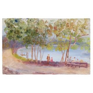 Impressionist Coastal Landscape, Oil Painting, Circa 1900-1930s